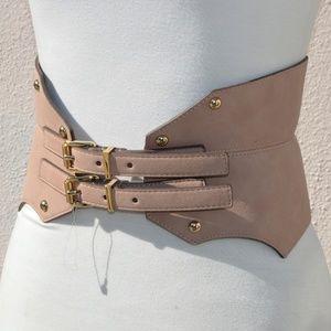 BCBGMAXAZRIA Faux Leather Corset Waist Belt